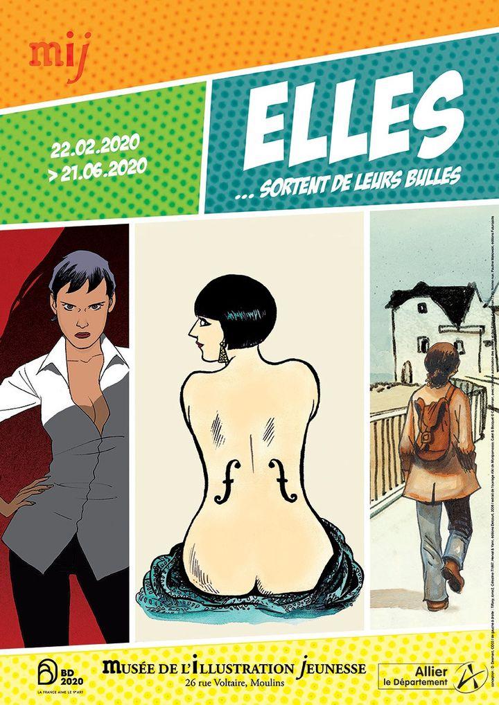 """Affiche de l'exposition """"Elles sortent de leurs bulles"""" au musée de l'illustration jeunesse de Moulins (MIJ Moulins)"""