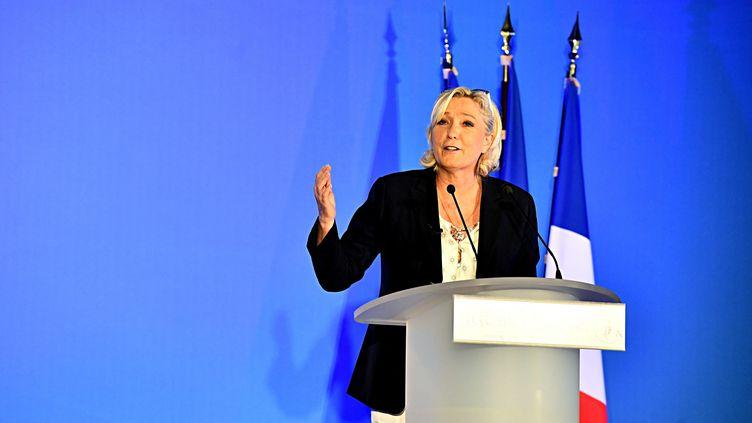 La présidente du Rassemblement national Marine Le Pen à Cublac (Corrèze), le 13 octobre 2018. (MAXPPP)