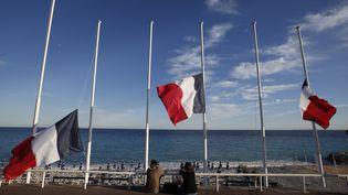 Le drapeau français en berne sur la promenade des Anglais, à Nice, le 15 juillet 2016. (ERIC GAILLARD / REUTERS)