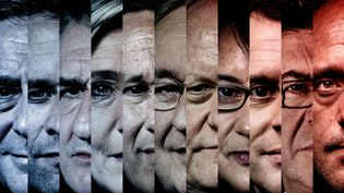 Les onze candidats à l'élection présidentielle 2017. De gauche à droite : François Fillon, Benoît Hamon, Jean Lassalle, Marine Le Pen, Nicolas Dupont-Aignan, Jacques Cheminade, François Asselineau, Nathalie Arthaud, Emmanuel Macron, Jean-Luc Mélenchon et Philippe Poutou. (FRANCEINFO)