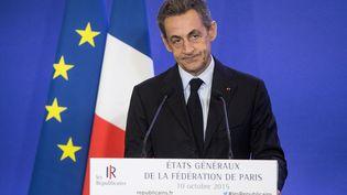 Le président des Républicains, Nicolas Sarkozy, lors d'un discours à Paris, le 10 octobre 2015. (REVELLI-BEAUMONT / SIPA)