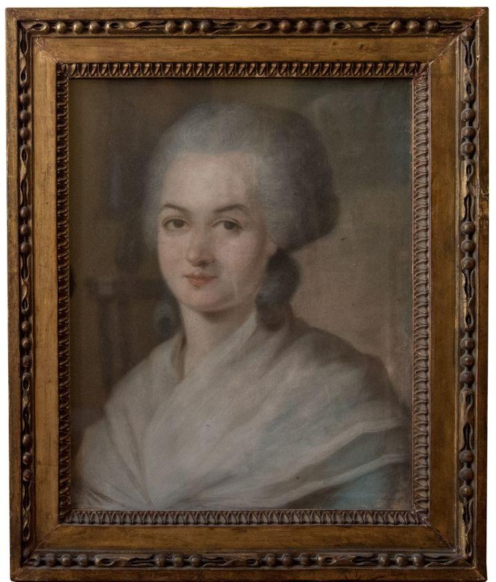 """Aleksander Kucharski (attribué à) """"Portrait d'Olympe de Gouges"""" - Pastel, vers 1788 Collection particulière  (Ville de Versailles)"""