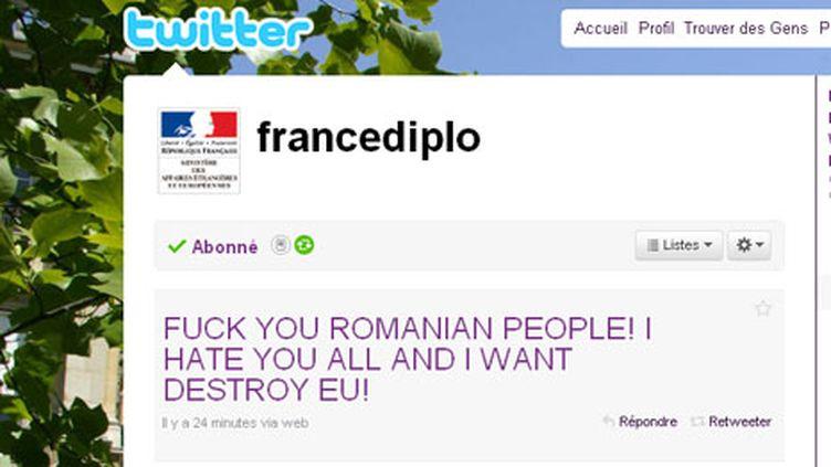 Le tweet insultant les Roms du compte @francediplo piraté