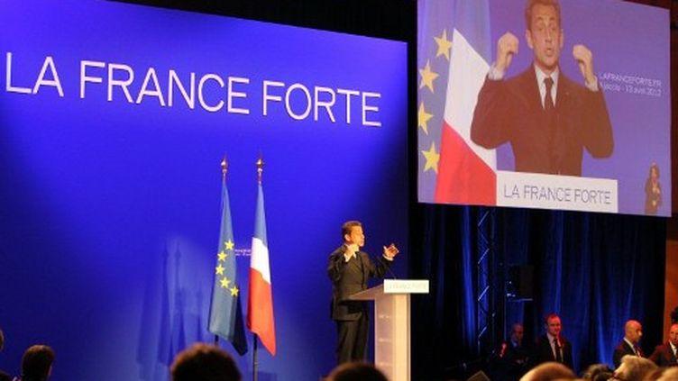 Nicolas Sarkozy en meeting à Ajaccio (Corse), le 13 avril 2012. (AFP - Pascal Pochard Casabianca)