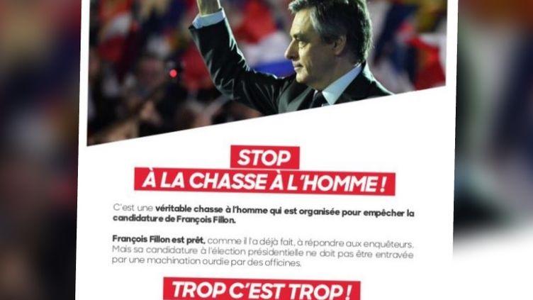 Un tract préparé par les équipes de François Fillon, rendu public le 3 février 2017. (DR)
