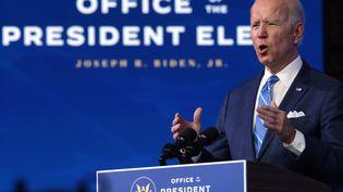 Le président américain élu Joe Biden, jeudi 14 janvier 2021 depuis son fief de Wilmington (Delaware). (ALEX WONG / GETTY IMAGES NORTH AMERICA / AFP)