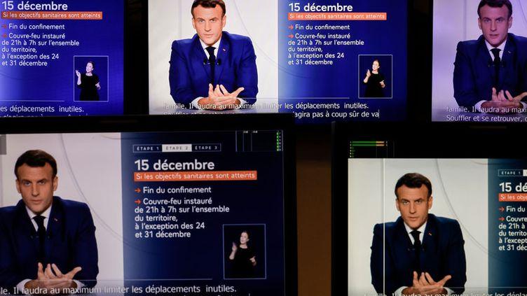 Emmanuel Macron lors de son allocution du 24 novembre 2020. (Thomas COEX / AFP)