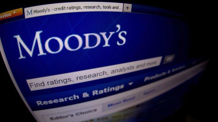 La page d'accueil du site internet de Moody's, le 17 janvier 2012, alors que l'agence annonçait la dégradation de la note de 16 banques espagnoles. (JOEL SAGET / AFP)