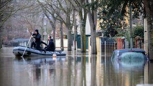 Les inondations à Villeneuve-Saint-Georges (Val-de-Marne), le 26 janvier 2018. (MAXPPP)