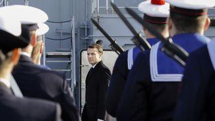 Le président de la République Emmanuel Macron, le 19 janvier 2018, lors desvœux aux armées à Toulon (Var). (CLAUDE PARIS / POOL)