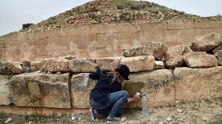 Etudiante en archéologie algérienne travaillant sur les pierres d'un ancien mausolée berbère, dans la région de Tiaret, en avril 2018. (RYAD KRAMDI / AFP)