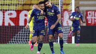 Memphis Depay, buteur contre Monaco le 2 mai 2021. (VALERY HACHE / AFP)