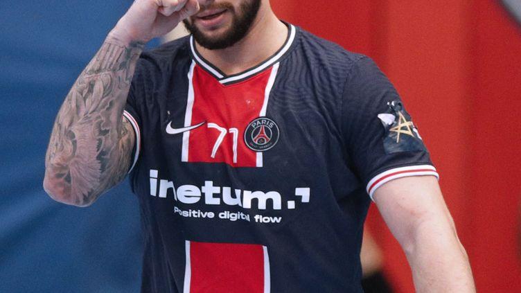 Elohim Prandi, joueur du Paris Saint-Germain, face à Kiel le 19 mai 2021. (YOAN VALAT / EPA /MaxPPP)