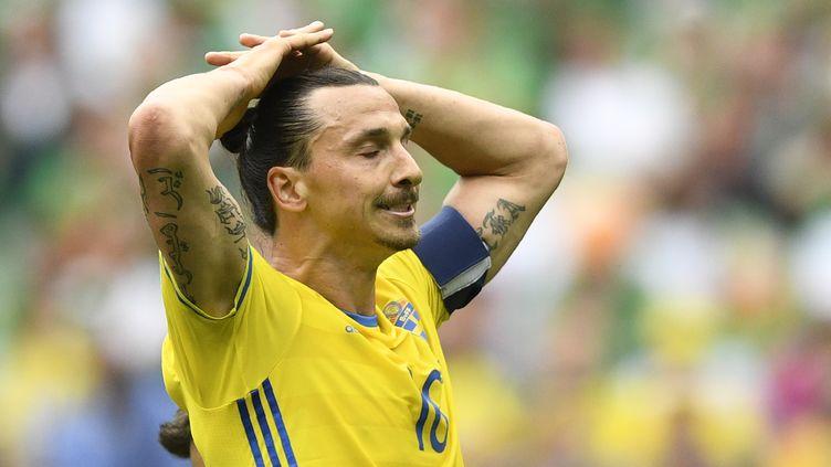 La déception de Zlatan Ibrahimovic lors du premier match de la Suède à l'Euro contre l'Irlande (MARTIN BUREAU / AFP)