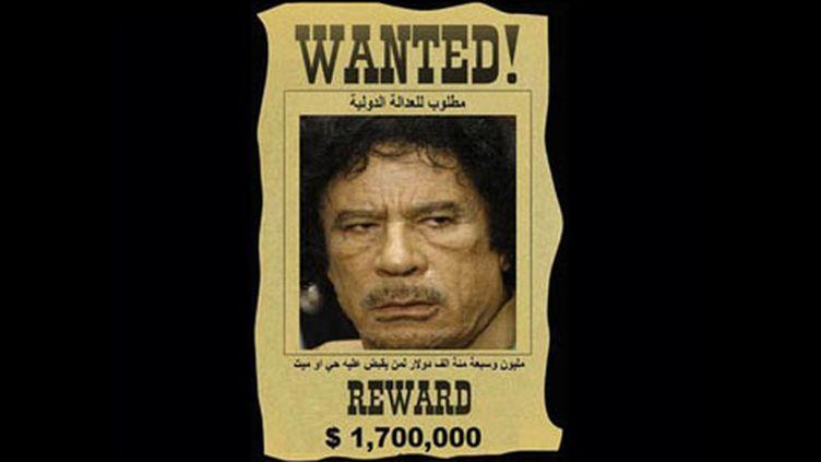 La tête de Mouammar Kadhafi mise à prix sur une affiche du groupe d'opposants Al-Manara. Août 2011. (AFP - Al Manara Media)