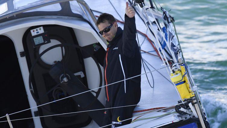 Stéphane Le Diraison a pris ledépart de son premier Vendée Globe le 5 novembre 2016. (DAMIEN MEYER / AFP)