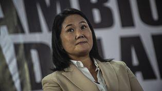 La candidate à l'élection présidentielle péruvienne, Keiko Fujimor, le 10 juin 2021 lors d'une conférence de presse à Lima. (ERNESTO BENAVIDES / AFP)