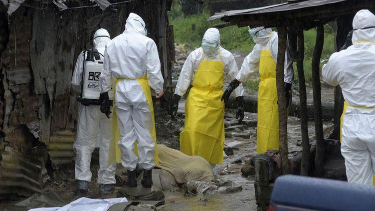 Des personnels sanitaires se préparent à évacuer le corps d'un homme découvert à Monrovia (Libéria) et présentant les symptômes du virus Ebola, le 17 août 2014. (REUTERS)