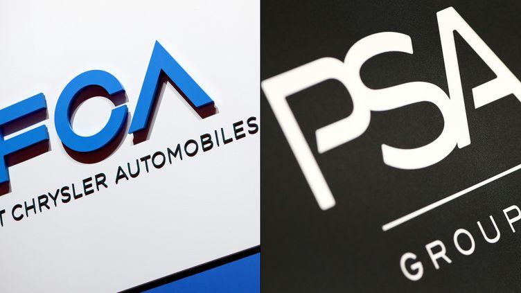 Les logos de PSA et Fiat Chrysler, le 30 octobre 2019, lors d'un salon automobile à Genève (Suisse). (HAROLD CUNNINGHAM / AFP)