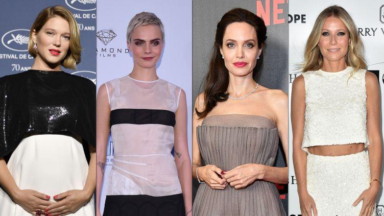 Les actrices Léa Seydoux, Cara Delevingne, Angelina Jolie et Gwyneth Paltrow accusent le producteur américain Harvey Weinstein de harcèlement et d'agression sexuelle. (AFP)