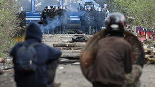 Des zadistes font face aux gendarmes à Notre-Dame-des-Landes, le 12 avril. (FRED TANNEAU / AFP)