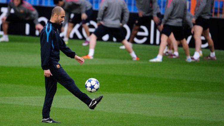 Guardiola, l'entraîneur du Barça exulte