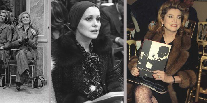 L'actrice Catherine Deneuve, une fidèle des défilés Yves Saint Laurent (de gauche à droite en 1974, 1972 et 1988)  (Jean Luce Huré)