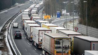 Des camions dans un bouchon sur l'autoroute A10 près de Tours (Indre-et-Loire), le 1er mars 2018. (GUILLAUME SOUVANT / AFP)