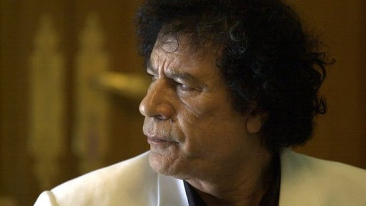 Mouammar Kadhafi lors d'une conférence de presse, le 22 mai en 2004. (AFP - Fethi Belaid)