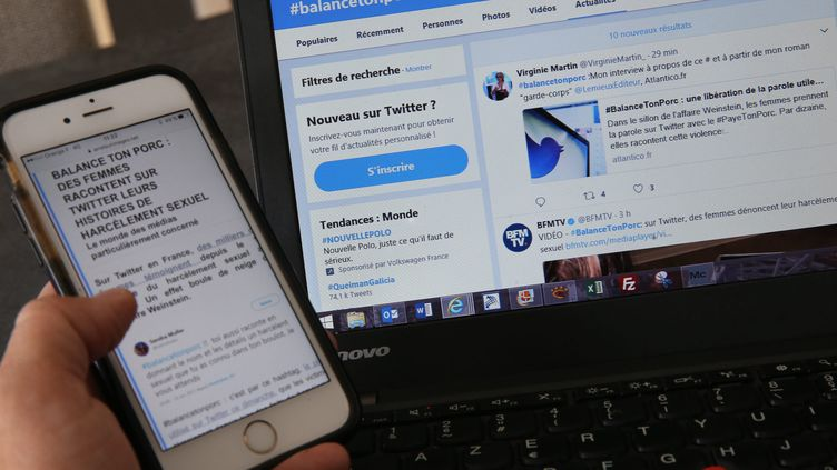 Les victimes de harcèlement sexuel, agression et viol partagent leurs récits sur le réseau social Twitter, avec le mot clé #balancetonporc. (MAXPPP)