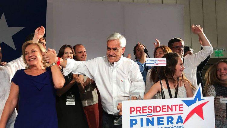 Le candidat conservateur et ancien président chilien SebastianPiñera, à l'issue du premier tour de l'élection présidentielle chilienne, le 19 novembre 2017. (ESPECIAL / NOTIMEX / AFP)
