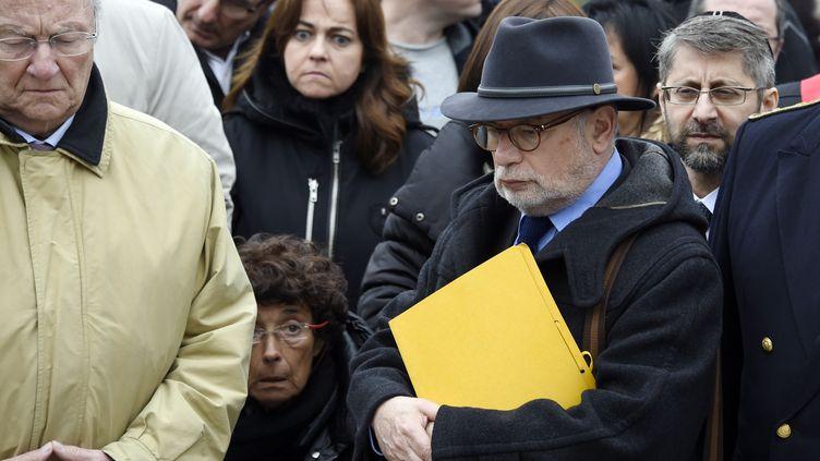 Ici le 19 mars 2015, Samuel Sandler (au premier plan), père et grand-père de trois victimes de Mohamed Merah (DOMINIQUE FAGET / AFP)