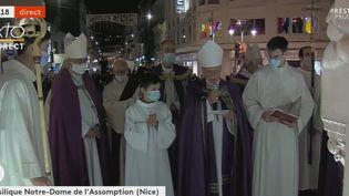 La messe célébrée dans la basilique Notre-Dame à Nice, le 1er novembre 2020. (FRANCEINFO)