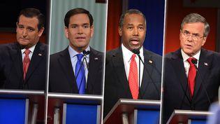 Ted Cruz, Marco Rubio, Ben Carson et Jeb Bush, candidats à la primaire républicaine, lors d'un débat télévisé à Charleston (Etats-Unis), le 14 janvier 2016. (AFP)
