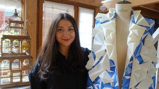 La créatrice Armine Ohanyan, dans son atelier parisien, mars 2018  (c)