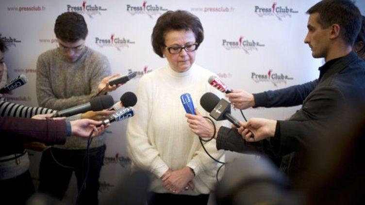 Christine Boutin dévoile son programme, le 5 décembre 2011, au Press Club. (MARTIN BUREAU / AFP)