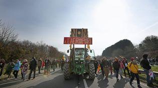 Des manifestants contre l'aéroport de Notre-Dame-des-Landes sur la RN 165, le 27 février 2016. (MAXPPP)