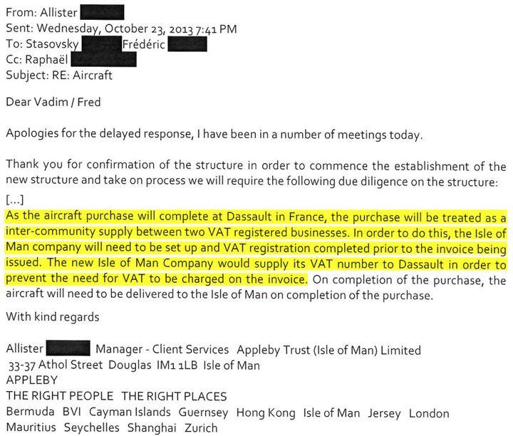 Extrait d'un échange de mails entre le responsable du service client d'Appleby et le représentant d'Oleg Tinkov, le 23 octobre 2013. (DR)