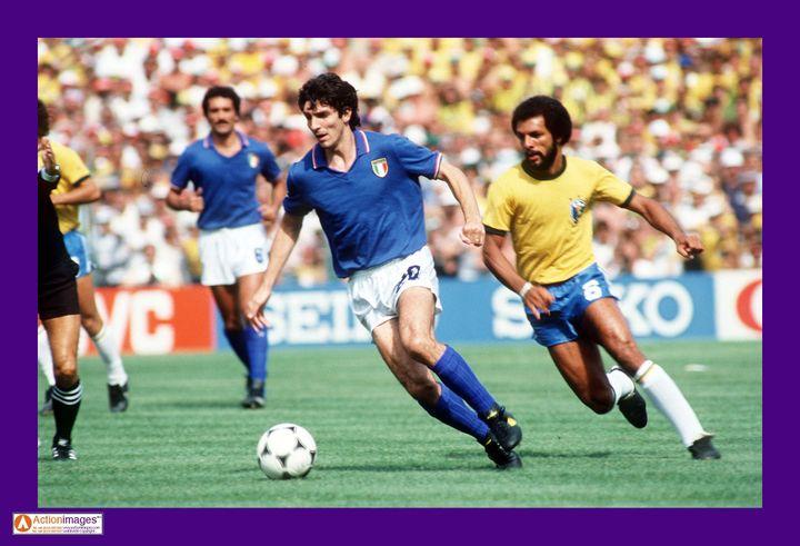 Paolo Rossi, face au Brésil de Junior au Mondial 1982 (ACTION IMAGES / X06515)