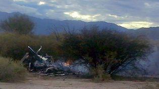 """La carcasse d'un des hélicoptères qui s'est écrasé àVilla Castelli (Argentine), le 9 mars 2015, lors du tournage de l'émission de téléréalité """"Dropped"""". (ALDO PORTUGAL / AFP)"""