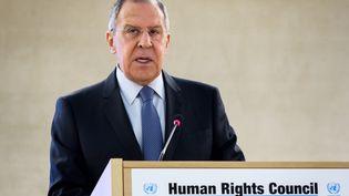 Sergueï Lavrov, le ministre russe des Affaires étrangères,devant le Conseil des droits de l'homme de l'ONU à Genève (Suisse). (FABRICE COFFRINI / AFP)