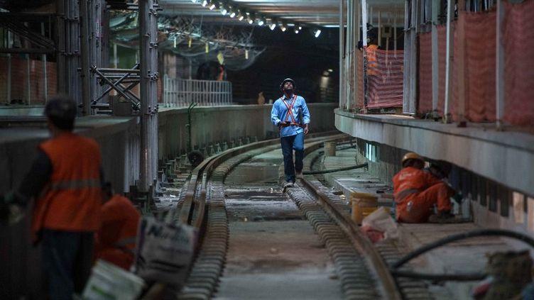 Le métro de Rio de Janeiro en plein travaux pour son extension en vue des Jeux Olympiques (CHRISTOPHE SIMON / AFP)