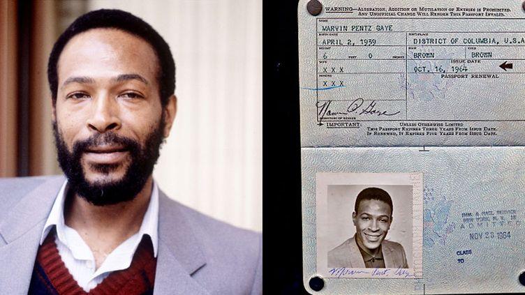 Marvin Gaye et son passeport, retrouvé dans un vieux disque  (A gauche, photo Eugene Adebari / REX / SIPA - A droite, Antiques Roadshow (PBS))