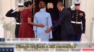 """La main de Barack Obama posées sur les fesses de Melania Trump? Un faux. """"Tous FactCheckeurs."""" Avril 2017. (France Télévisions/ Rue 89 MOOC)"""