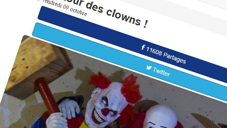 (Le faux retour des clowns tueurs © Capture d'écran actualites.co)