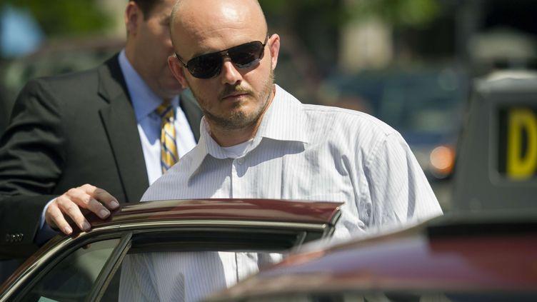 Nicholas Slatten, un des quatre ex-mercenaires de Blackwater jugés pour le meurtre d'Irakiens en 2007, le 11 juin 2014 à Washington. (CLIFF OWEN / AP / SIPA )