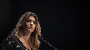 La ministre déléguée à la Citoyenneté, Marlène Schiappa, durant un séminaire consacré à la lutte contre le séparatisme et l'islamisme à Albi (Tarn), le 27 octobre 2020. (LIONEL BONAVENTURE / AFP)