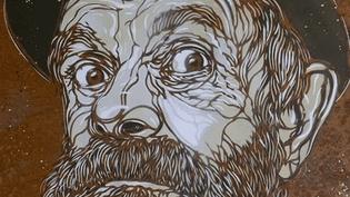 Un des portraits de la rue de C215 à la Galerie Berthéas à Vichy  (France 3 / capture d'écran)