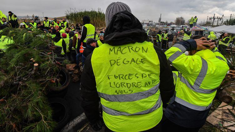 """Des """"gilets jaunes"""" à Frontignan (Hérault), le 19 novembre 2018. (PASCAL GUYOT / AFP)"""