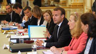 Emmanuel Macron lors du Conseil des ministres du 5 septembre 2018 à l'Elysée, à Paris. (LUDOVIC MARIN / AFP)